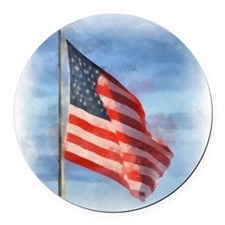 American Flag Art Round Car Magnet