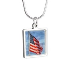 American Flag Art Silver Square Necklace