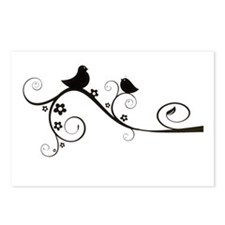 Birds silhouette on a branch Postcards (Package of
