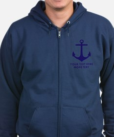 Nautical boat anchor Zip Hoodie