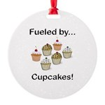 Fueled by Cupcakes Round Ornament
