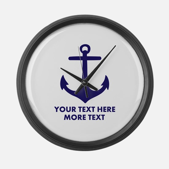 Nautical boat anchor Large Wall Clock