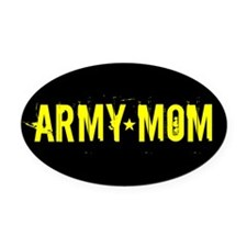 Army Mom: Black and Gold Oval Car Magnet