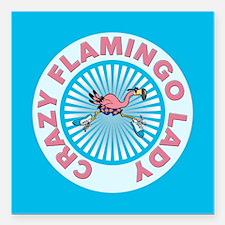 """Crazy Flamingo Lady Square Car Magnet 3"""" x 3"""""""