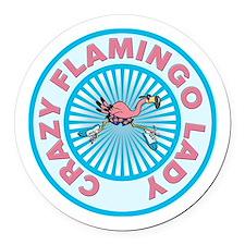 Crazy Flamingo Lady Round Car Magnet