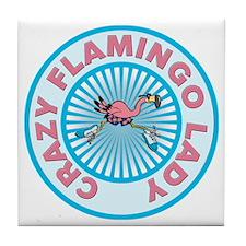 Crazy Flamingo Lady Tile Coaster