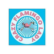 """Crazy Flamingo Lady Square Sticker 3"""" x 3"""""""