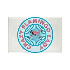 Crazy Flamingo Lady Rectangle Magnet