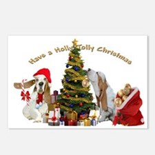 Basset Holly Jolly Christmas Postcards (Package of