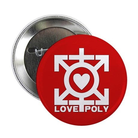 "Love Poly Red 2.25"" Button (100 pack)"