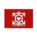 Love Poly Red Rectangle Magnet (10 pack)