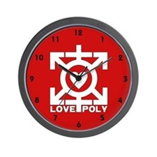 Love Poly Red Wall Clock