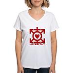 Love Poly Red Women's V-Neck T-Shirt