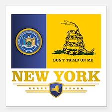 "New York Gadsden Flag Square Car Magnet 3"" x 3"""