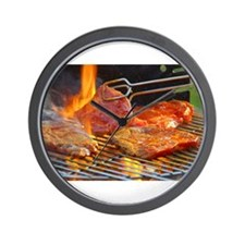 bbq steaks Wall Clock