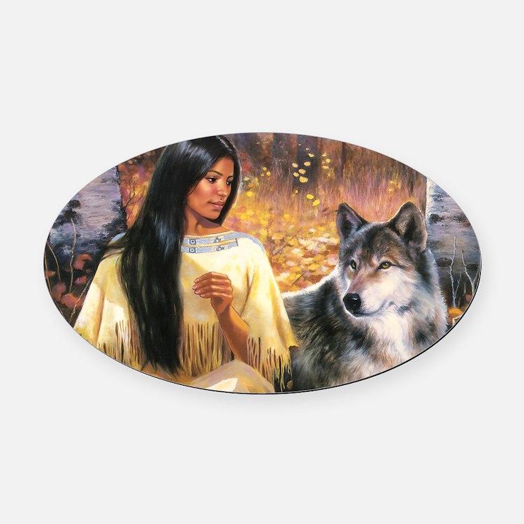 Grey Wolf.jpg Oval Car Magnet