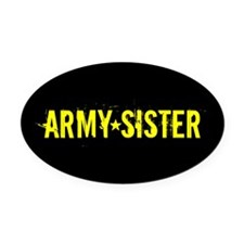 Army Sister: Gold and Black Oval Car Magnet
