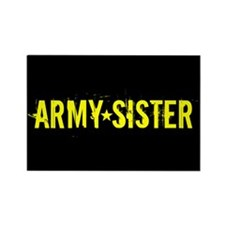 Army Sister: Gold and Black Rectangle Magnet