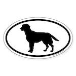 Black Labrador Retriever Euro Oval Sticker