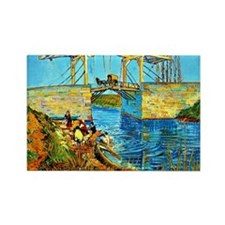 Van Gogh - The Langlois Bridge at Rectangle Magnet