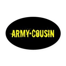 Army Cousin: Black and Gold Oval Car Magnet