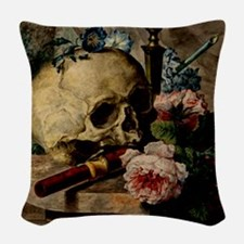 Vintage Skull Woven Throw Pillow