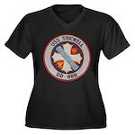 USS STICKELL Women's Plus Size V-Neck Dark T-Shirt