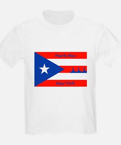 Puerto Rico New York Flag Lady Liberty T-Shirt