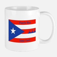 Puerto Rico New York Flag Lady Liberty Mugs