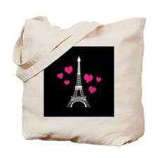 Pink Hearts White Eiffel Tower Tote Bag