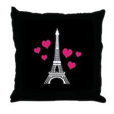Pink Hearts White Eiffel Tower Throw Pillow