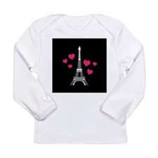Pink Hearts White Eiffel Tower Long Sleeve T-Shirt