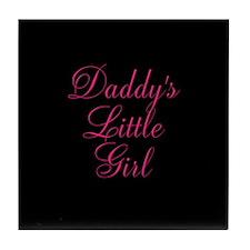 Daddys Little Girl Pink on Black Tile Coaster