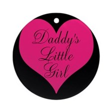 Daddys Little Girl Pink Heart on Black Ornament (R
