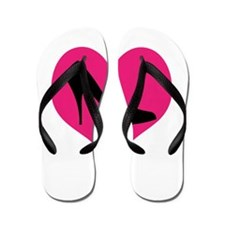 High Heel Love in Pink and Black Flip Flops