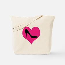 High Heel Love in Pink and Black Tote Bag