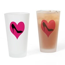 High Heel Love in Pink and Black Drinking Glass