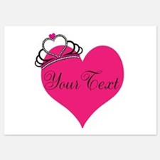 Personalizable Pink Heart with Crown Invitations