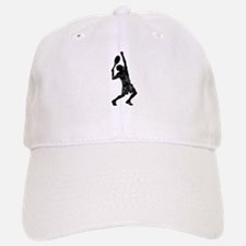 Distressed Tennis Player Silhouette Baseball Baseball Baseball Cap
