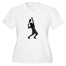 Distressed Tennis Player Silhouette Plus Size T-Sh