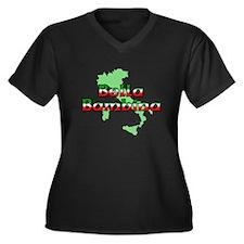 Bella Bambina Women's Plus Size V-Neck Dark T-Shir