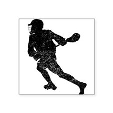Distressed Lacrosse Player Silhouette Sticker