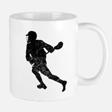 Distressed Lacrosse Player Silhouette Mugs