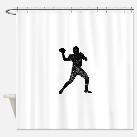 Distressed Quarterback Silhouette Shower Curtain