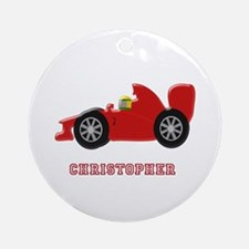 Personalised Red Racing Car Ornament (Round)