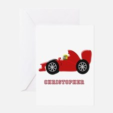 Personalised Red Racing Car Greeting Cards