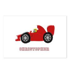 Personalised Red Racing Car Postcards (Package of