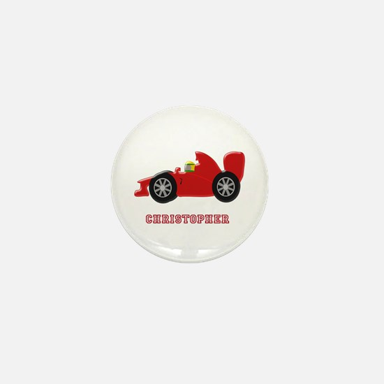 Personalised Red Racing Car Mini Button