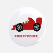 """Personalised Red Racing Car 3.5"""" Button"""