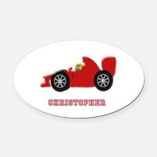 Personalised Red Racing Car Oval Car Magnet